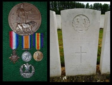 Enos Charles Free medals and headstone