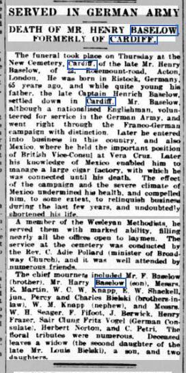 Henry Baselow Obit - 26 Sep 1913