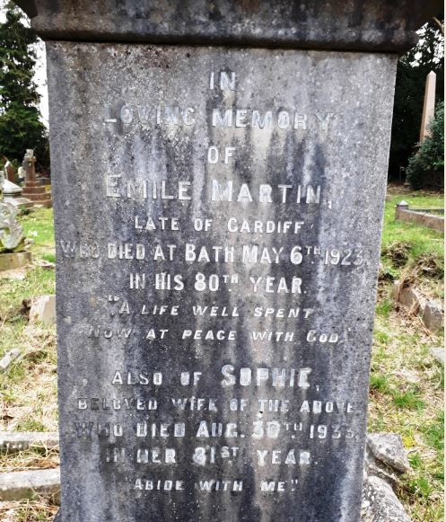 Sophie and Emile Martin insription on grave of Captain Baselow