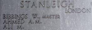 William Bibbings on Tower Hill Memorial