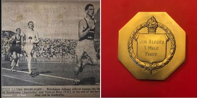 Jim Alford and his gold medal from Australia Empire Games (pic credit - Paul Alford)