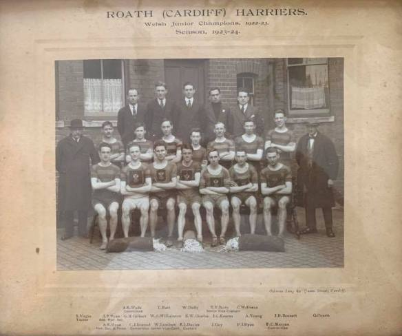 Roath Harriers 1923-1924 and the paperchasing bags of paper - photo shared by  Jon Morgan