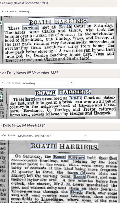 Roath Harriers 1884 to 1890