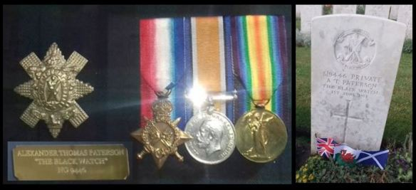A T Patterson medals and headstone