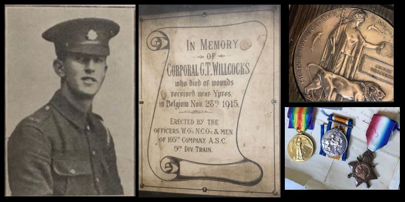 Gilbert Willcocks picture and memorial and medals