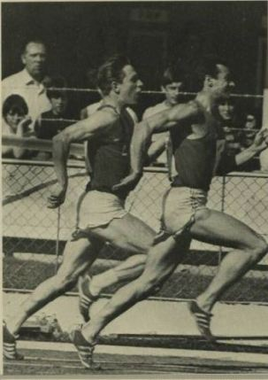 Lynn Davies on his way to win a 100 meters invitation race at the British Games, 1966 held at White City, London
