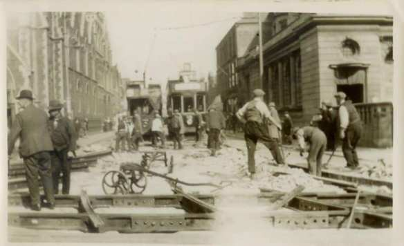 Workers repairing the tram lines at Newport Road and City Road junction