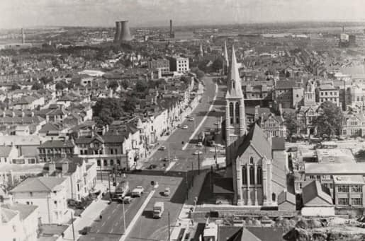 Aerial shot looking up Newport rd...City rd junction on the left...Royal infirmary right and the cooling towers at Colchester Avenue in the distance 1960's