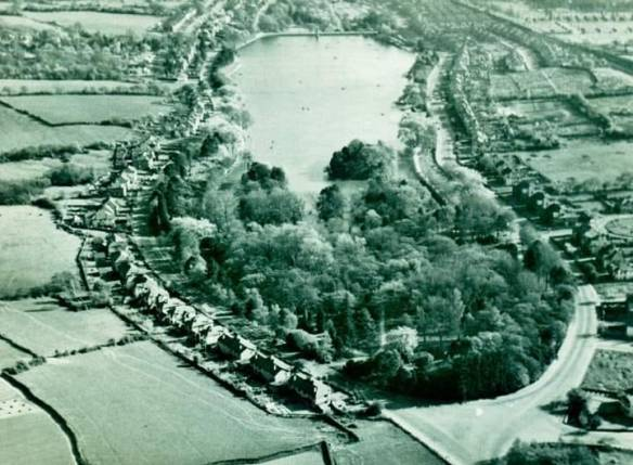 Aerial view of Roath Park Lake - year unknown