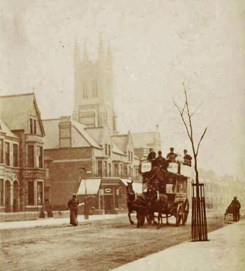 Albany Road looking towards Angus Street junction and Roath Park methodist church