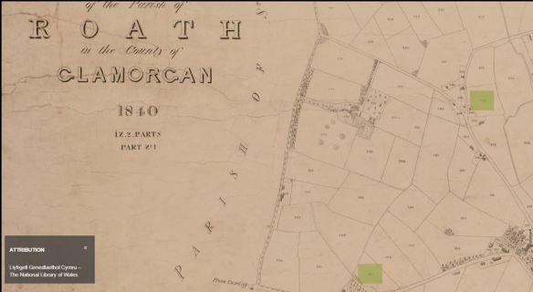 1840 tithe map of Roath, Cardiff