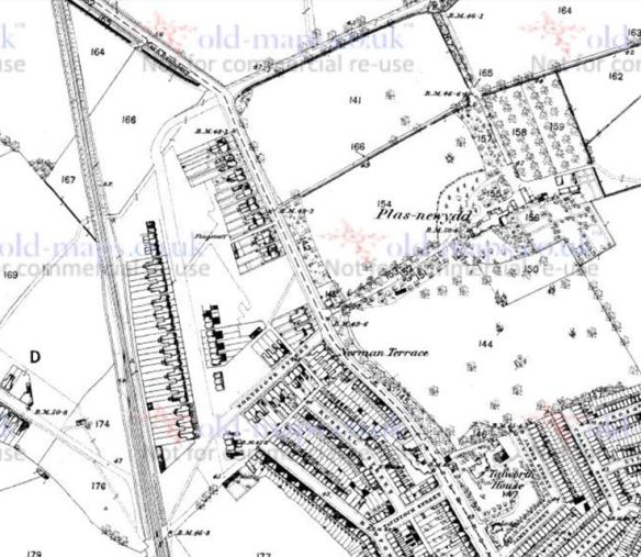 1880 map top part of Castle Road, Cardiff