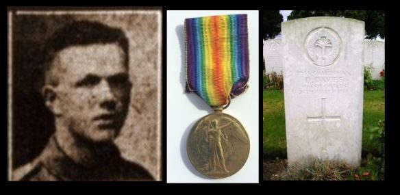 David Davies picture, medal and headstone