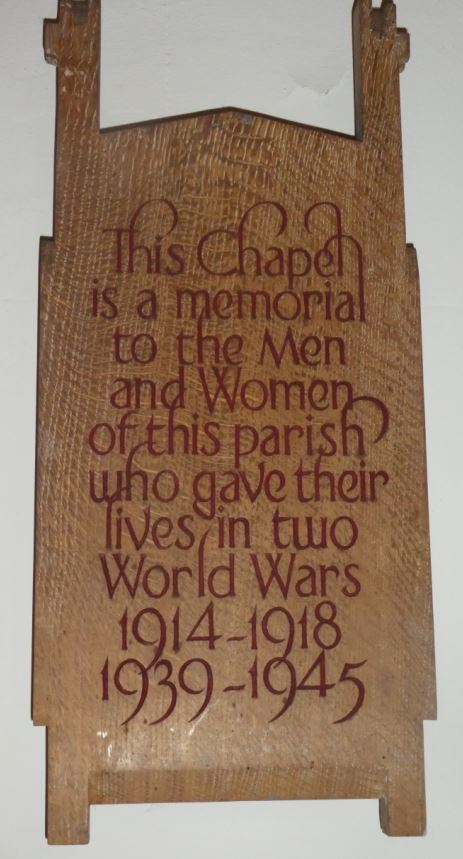 St James the Great meorial chapel plaque