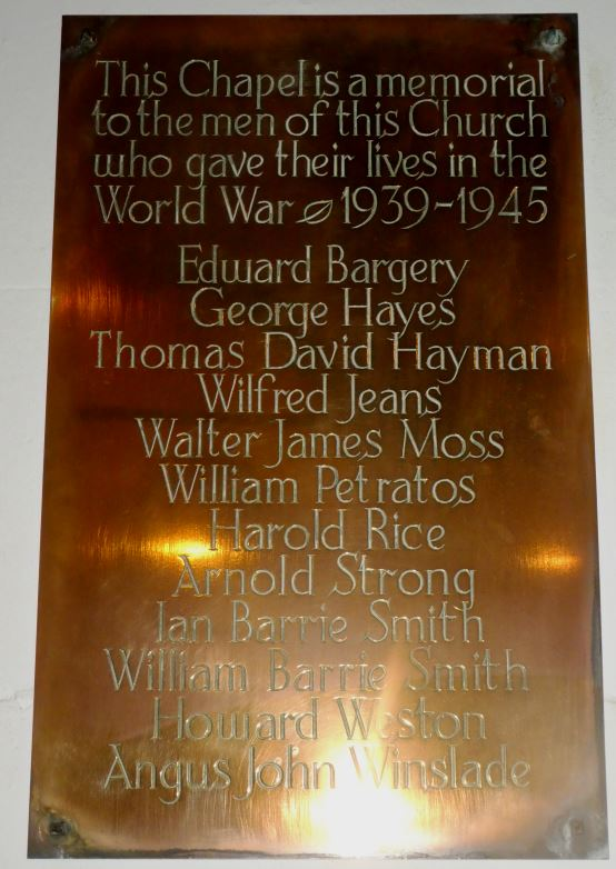 St James the Great WWII war memorial plaque