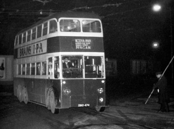 First trolley bus route abandonment 24 Nov 1962 Roath Depot photo Glyn Bowen