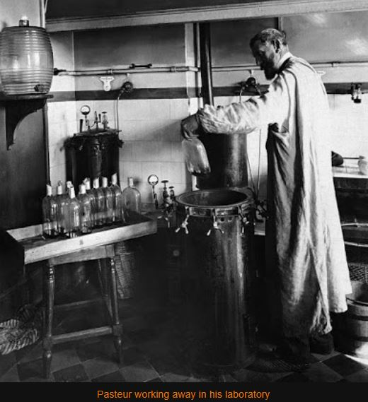 Pasteur in his laboratory