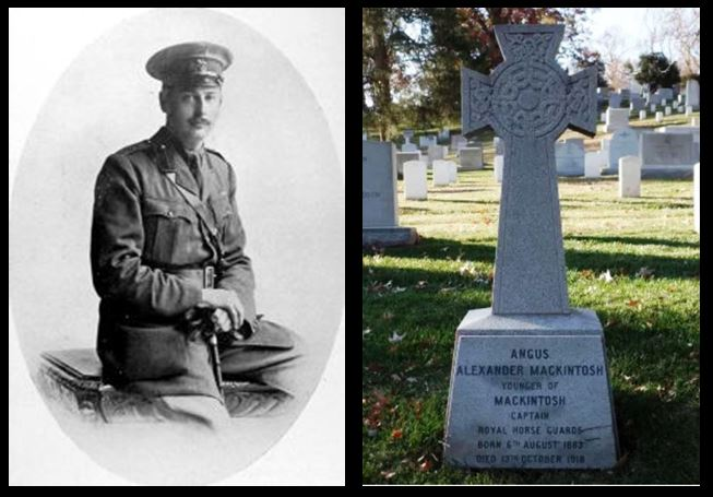 Angus Alexander Mackintosh and headstone at Arlington Cemetery