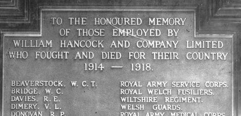 V L Dimery on William Hancock war memorial plaque