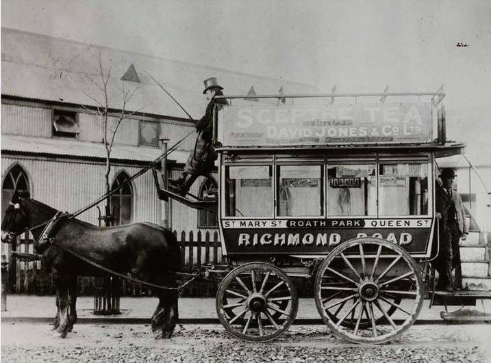Wellfield Road, Roath, Cardiff - horse drawn bus going towards Cardiff with Roath Park Methodist church in the background.