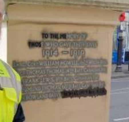 Willliam Howell name being added to the Cowbridge War Memorial