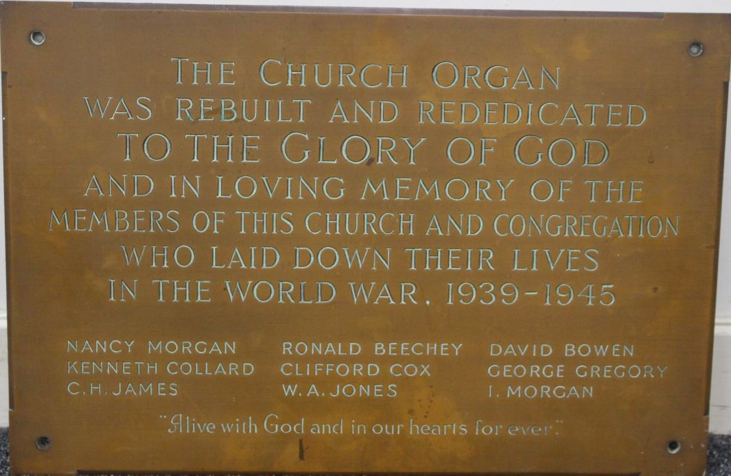 Woodville Road Baptist Church WWII memorial plaque
