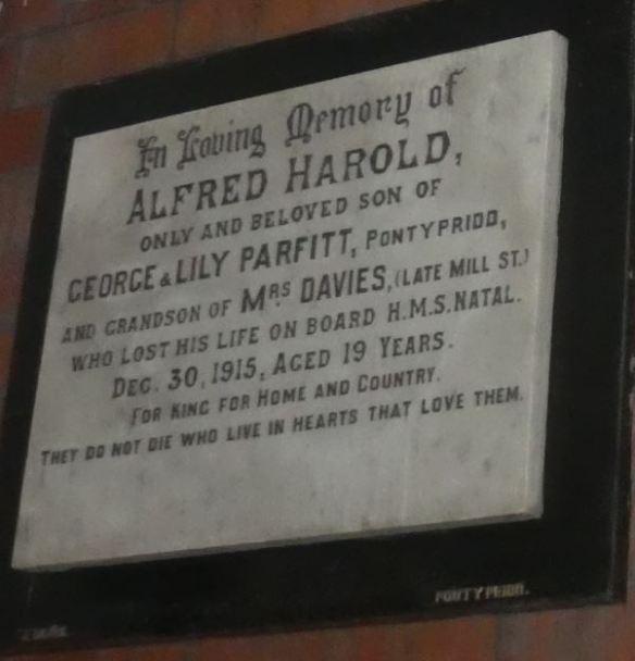 Alfred Harold Parfitt memorial plaque