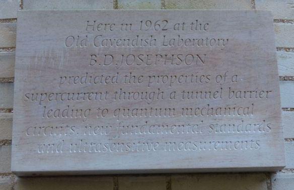 Brian Josephson plaque, Cavendish Laboratory, Cambridge