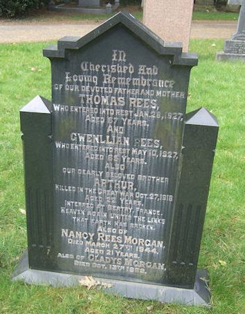 Nancy Rees Morgan, Cathays Cemetery plot Y1564 Cardiff.