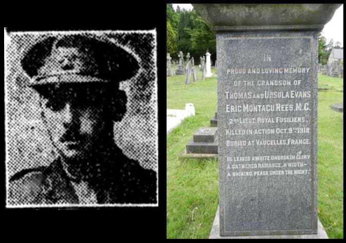 Eric Montagu Rees portrait and grandparents grave