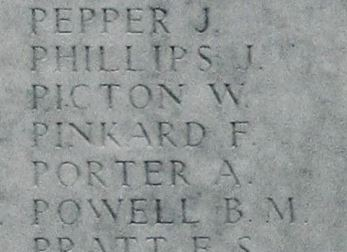 Frank Pinkard name on memorial at Loos