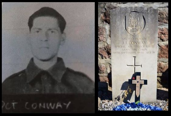 John Joseph Conway portrait and headstone