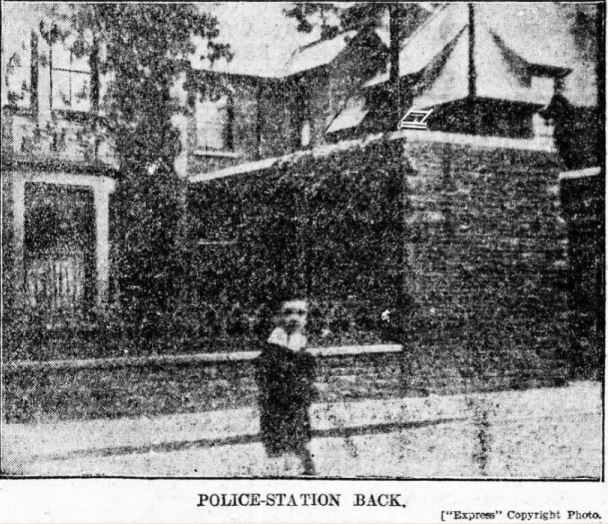 Back of Roath Police Station, Gold Street, Cardiff at the time of Harry Heathfield's escape