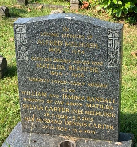 Headstone of Alfred Melhuish in Cathays Cemetery, Cardiff