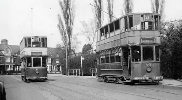 TRAMS OUTSIDE ROATH PARK IN 1949