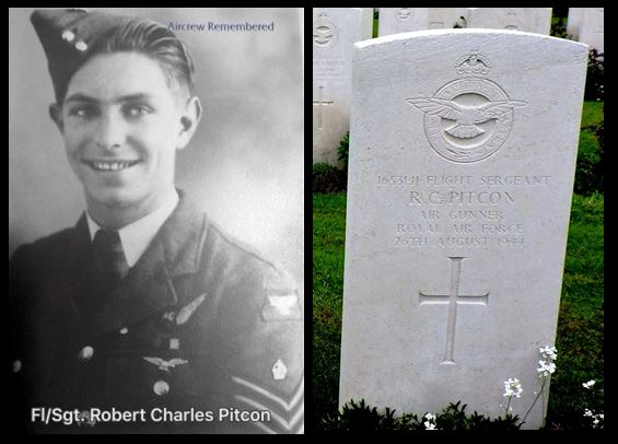 Robert Charles Pitcon portrait and headstone