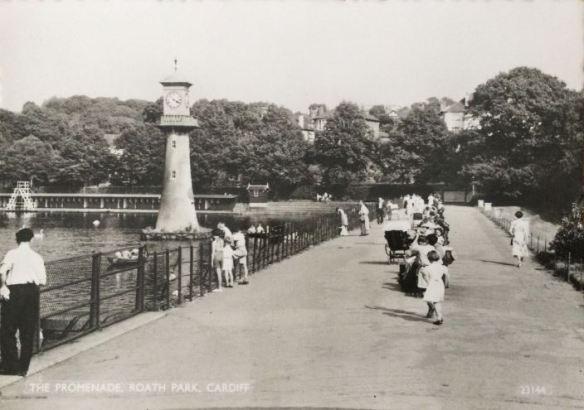 Roath Park Lake promonade in the 1950s