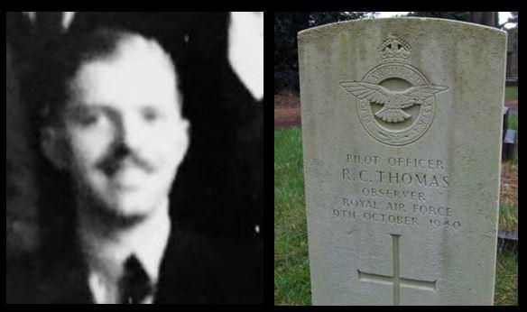Richard Caredig Thomas portrait and headstone
